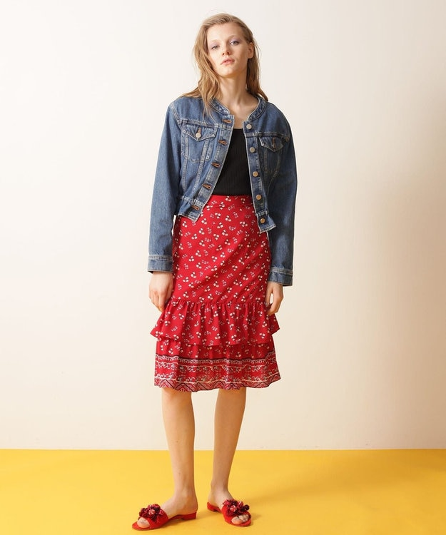 GRACE CONTINENTAL 小花ティアードスカート