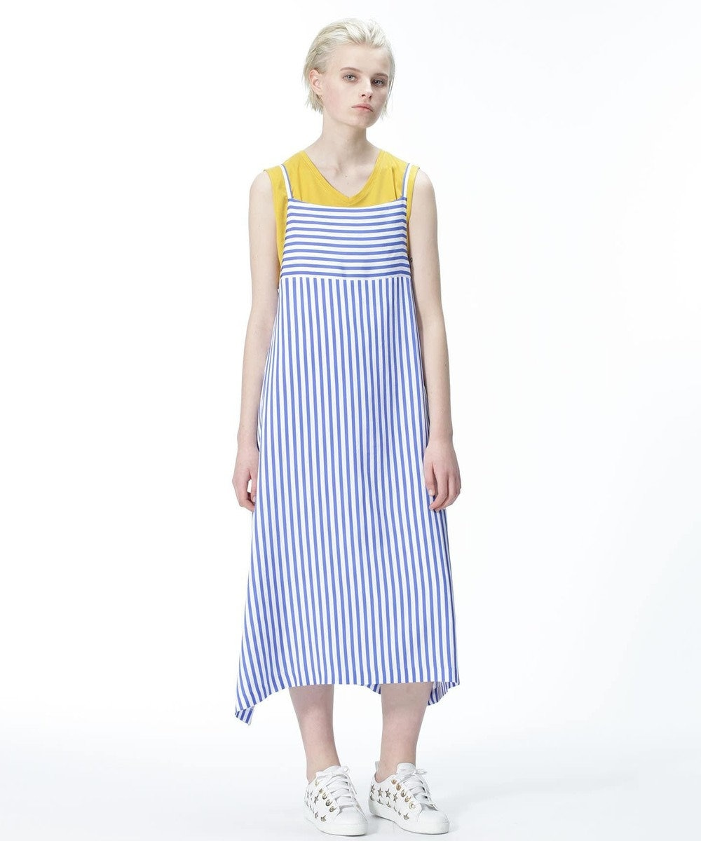 GRACE CONTINENTAL ストライプジャンパースカート ブルー