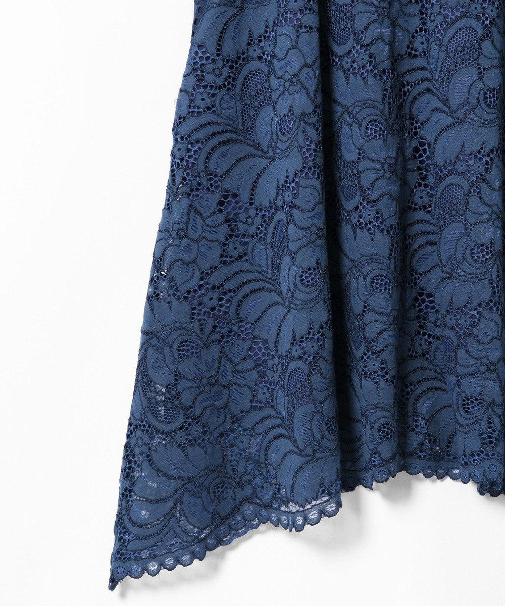 GRACE CONTINENTAL パッチワークレースドレス ブルー