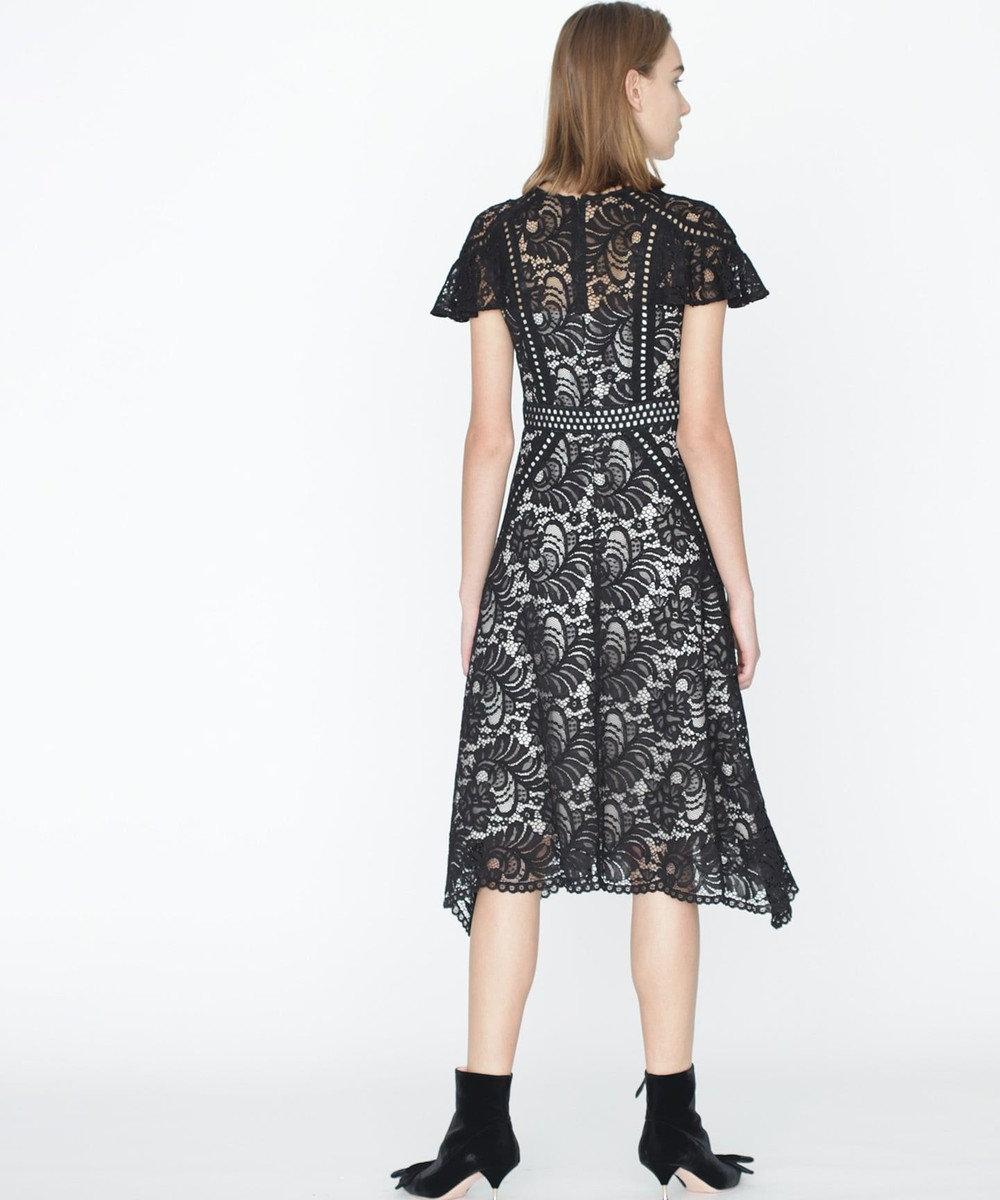 GRACE CONTINENTAL パッチワークレースドレス ブラック
