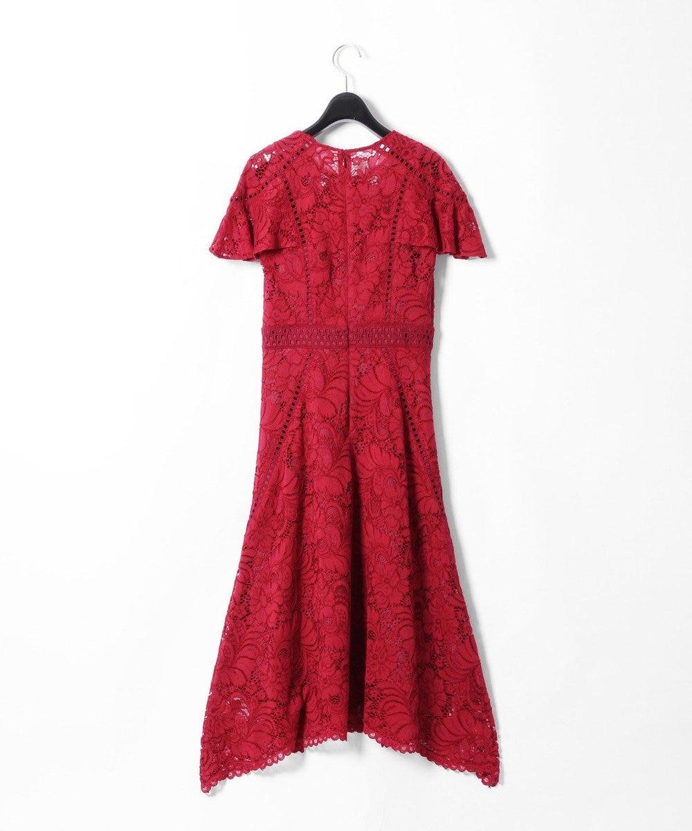 GRACE CONTINENTAL パッチワークレースドレス レッド