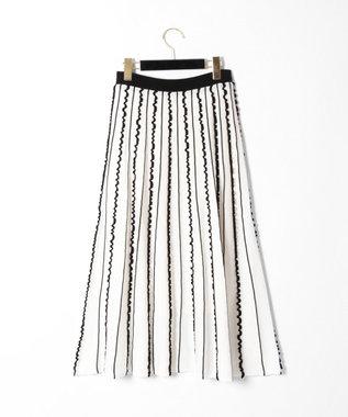 GRACE CONTINENTAL フリルラインニットスカート ホワイト