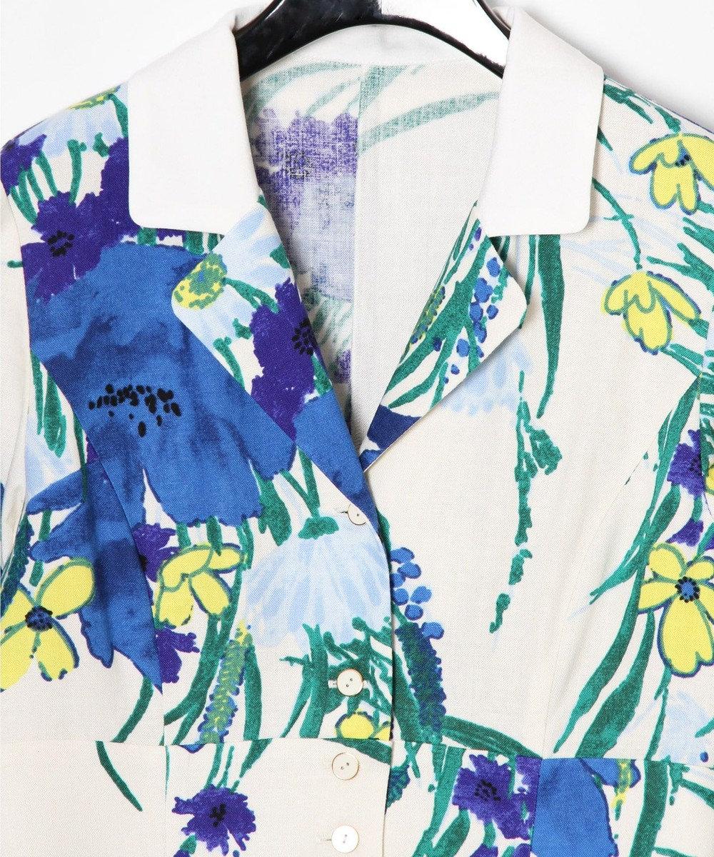 GRACE CONTINENTAL ボタニカルプリントシャツワンピース ホワイト