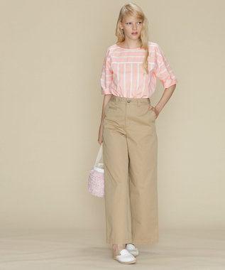GRACE CONTINENTAL ストライプボートネックトップ ピンク