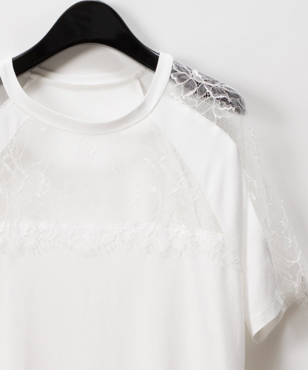 GRACE CONTINENTAL リバーレース切替Tシャツ ホワイト