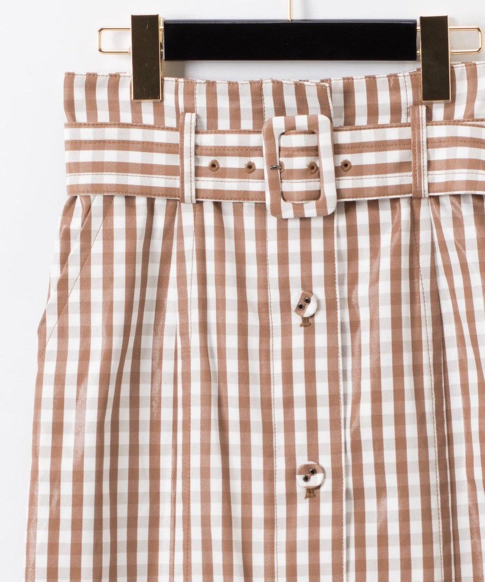 GRACE CONTINENTAL ベルト付チェックタイトスカート キャメル