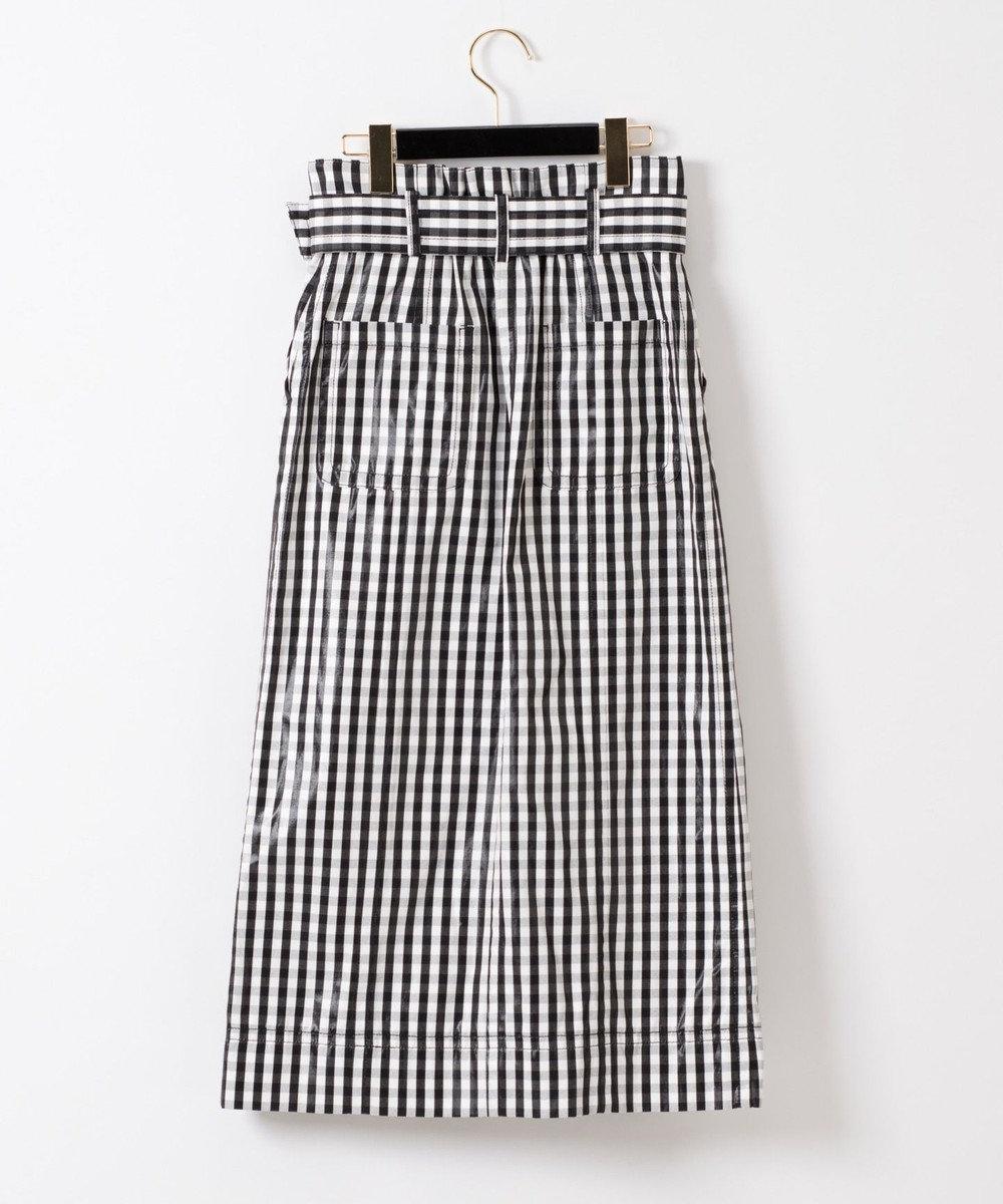 GRACE CONTINENTAL ベルト付チェックタイトスカート ブラック