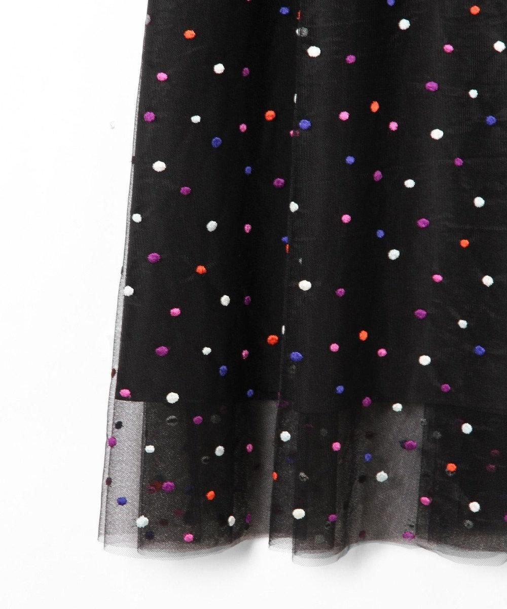GRACE CONTINENTAL ドットギャザースカート ブラック