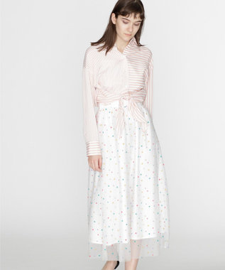 GRACE CONTINENTAL ドットギャザースカート ホワイト