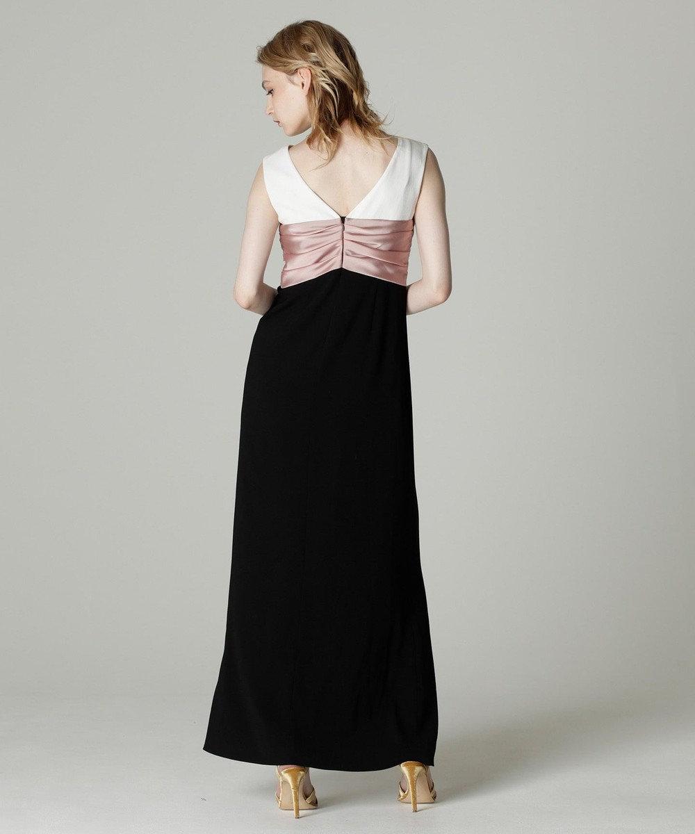 GRACE CONTINENTAL リボン配色ロングドレス ブラック