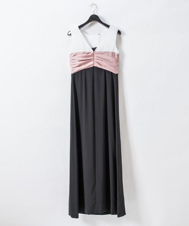 GRACE CONTINENTAL リボン配色ロングドレス