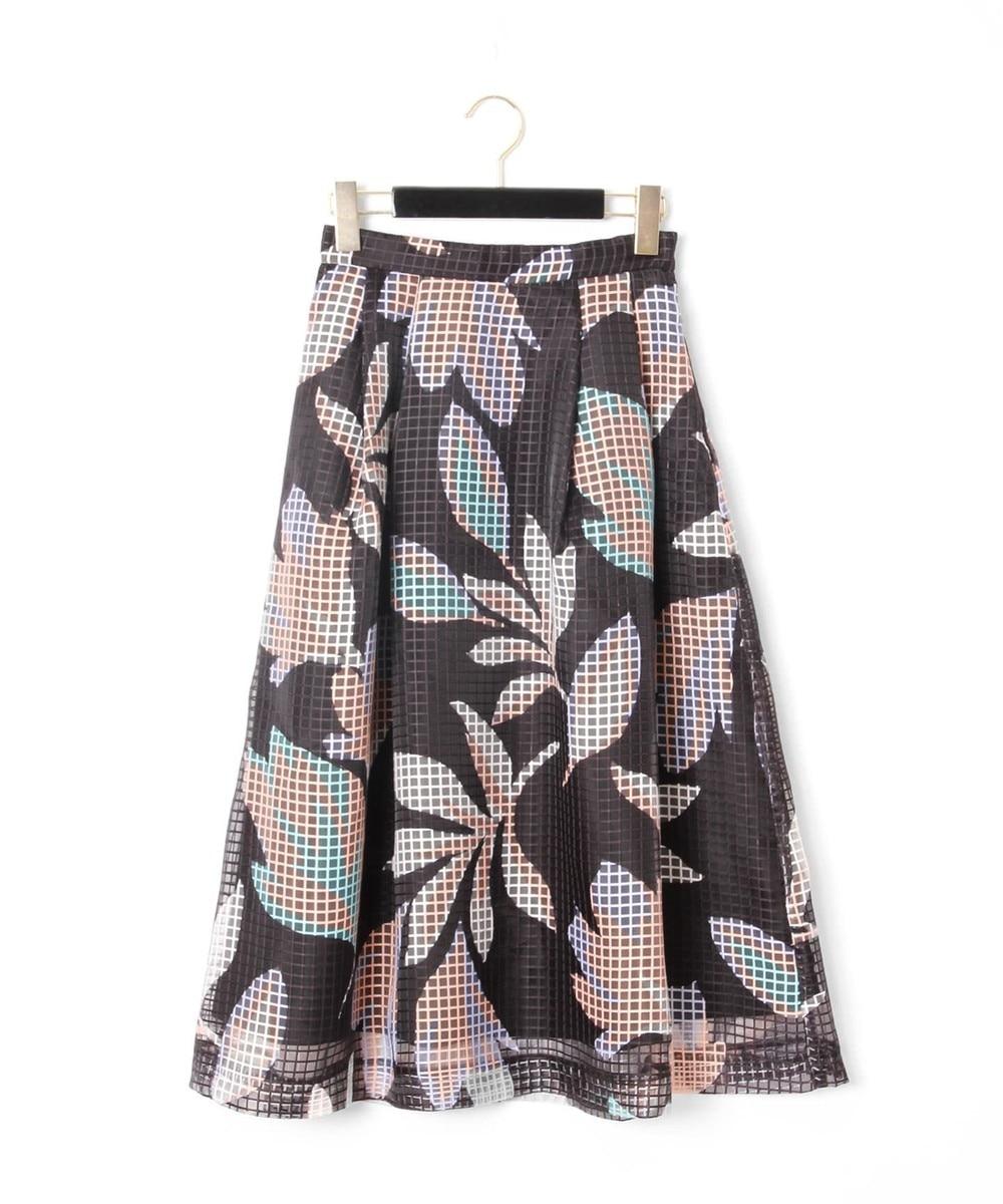 メッシュフラワープリントスカート