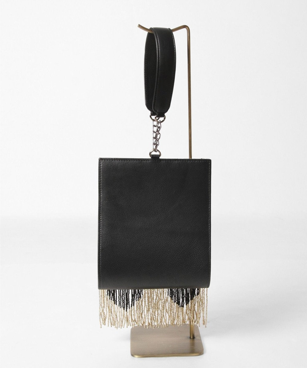 GRACE CONTINENTAL ハートフリンジ刺繍バッグ ブラック