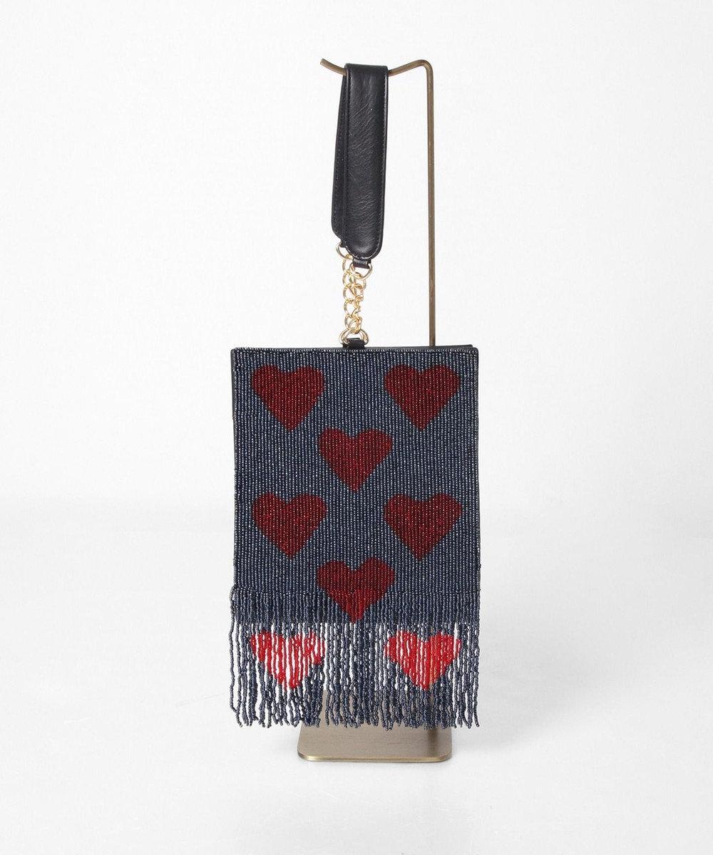 GRACE CONTINENTAL ハートフリンジ刺繍バッグ ネイビー