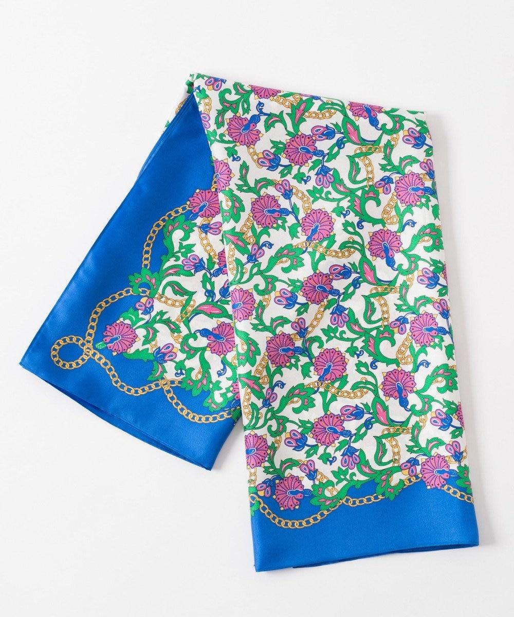 GRACE CONTINENTAL チェーンフラワースカーフ ブルー
