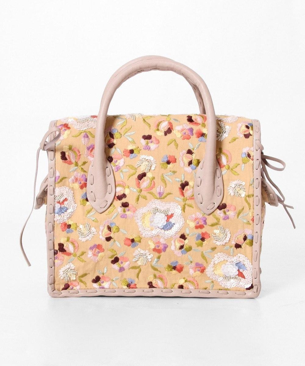 GRACE CONTINENTAL MS配色フラワー刺繍バッグ ラベンダー