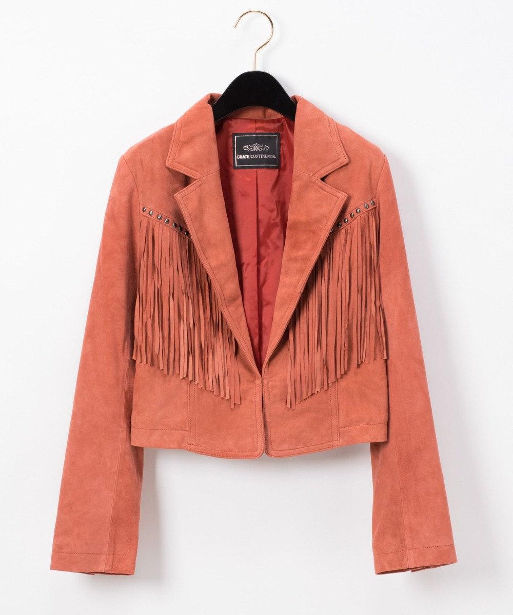 GRACE CONTINENTAL スエードフリンジジャケット オレンジ