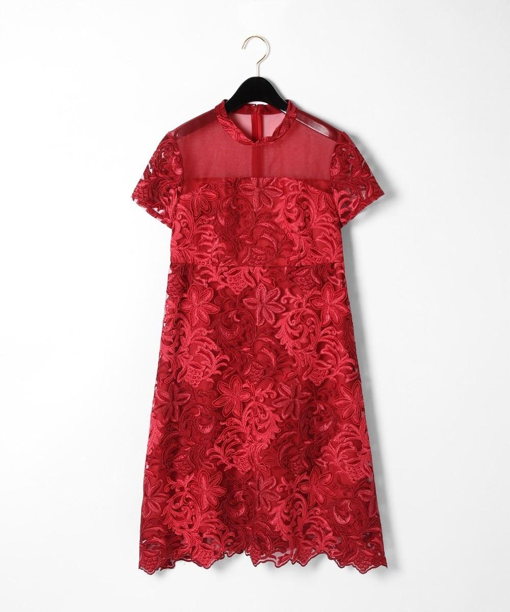 チュール刺繍フレアワンピース