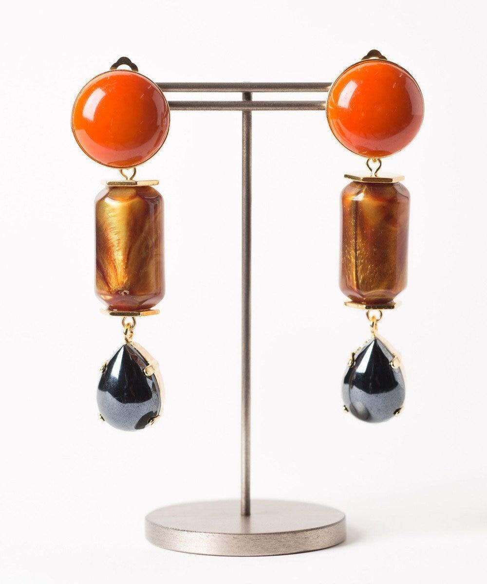 GRACE CONTINENTAL ドロップガラスイヤークリップ オレンジ