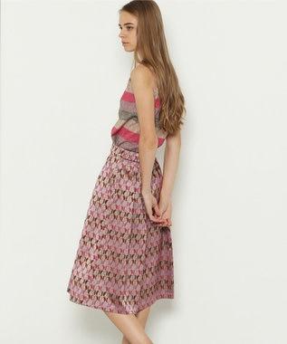 GRACE CONTINENTAL モノグラムジャガードスカート ピンク