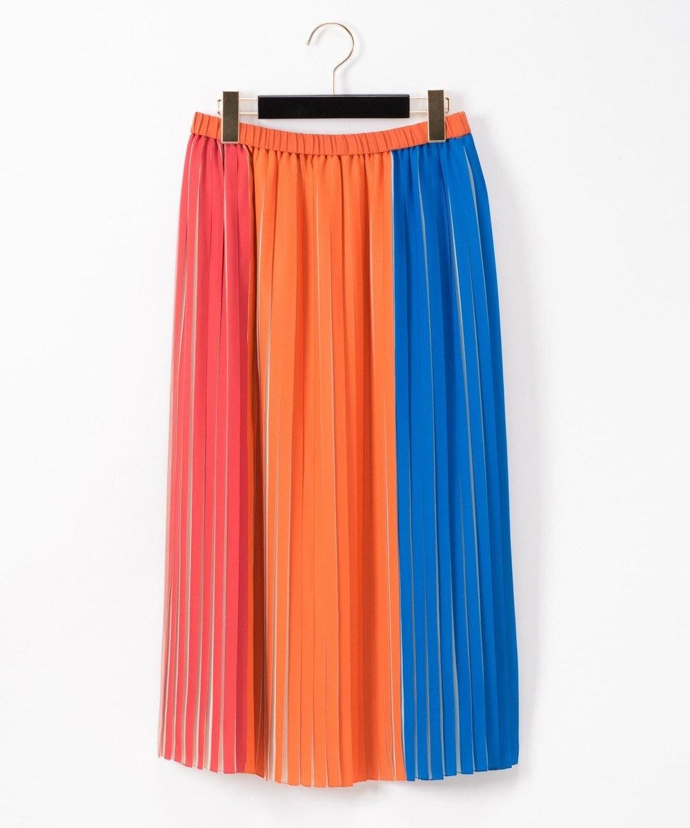 GRACE CONTINENTAL バイカラープリーツ配色スカート オレンジ