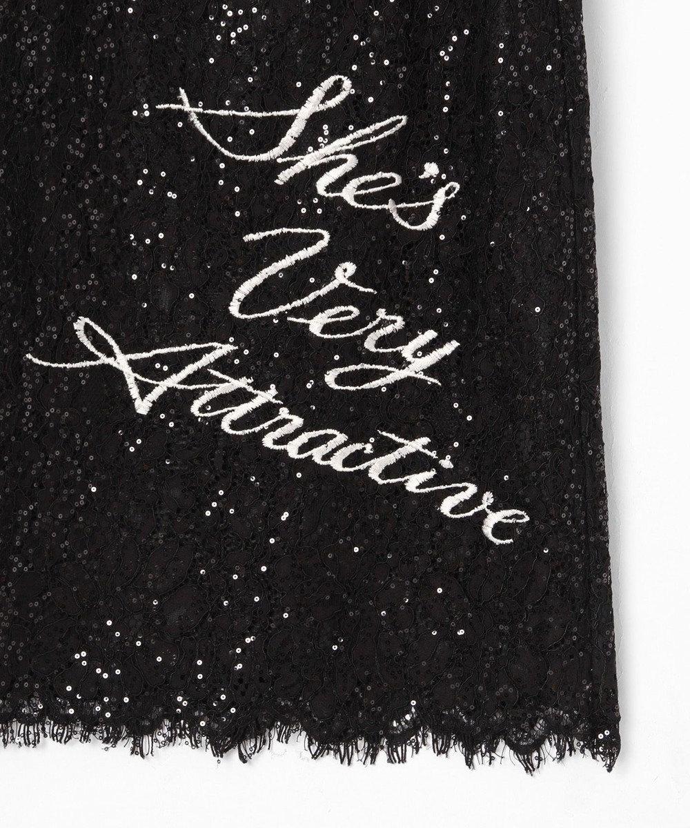GRACE CONTINENTAL スパン刺繍レースミニワンピース ブラック