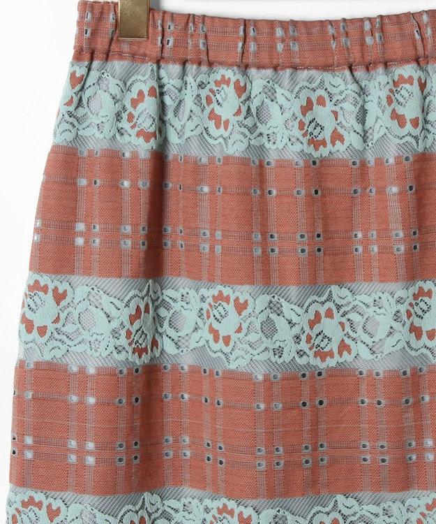 GRACE CONTINENTAL チェックフラワーレーススカート