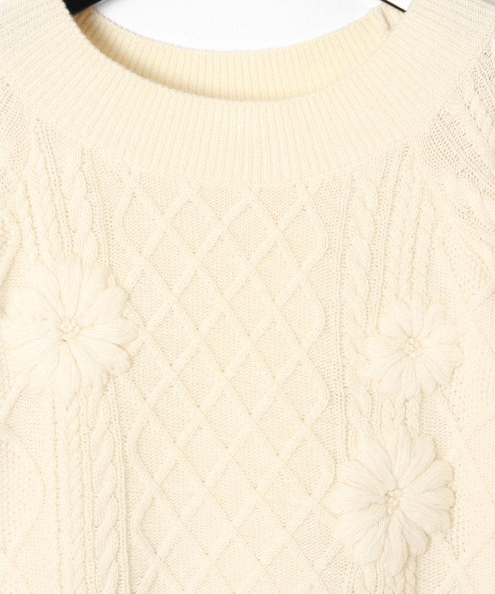 GRACE CONTINENTAL 刺繍ケーブルニットワンピース ホワイト