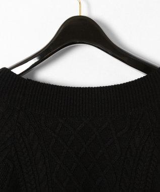 GRACE CONTINENTAL 刺繍ケーブルニットワンピース ブラック