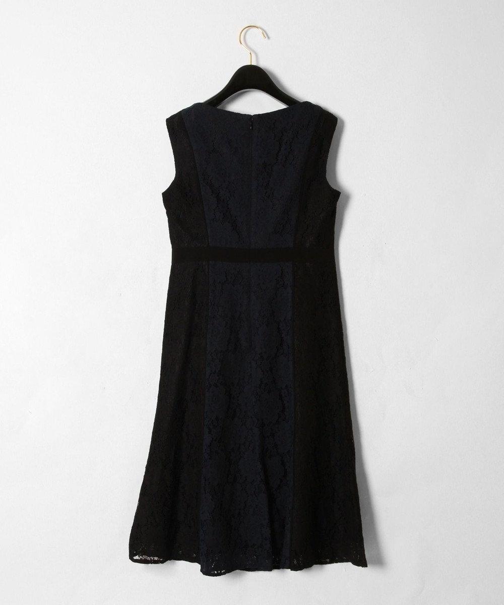 GRACE CONTINENTAL 配色レースフレアワンピース ブラック