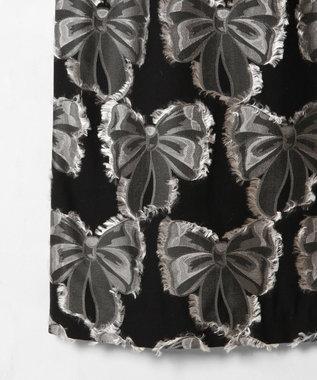 GRACE CONTINENTAL リボンジャガードワンピース ブラック