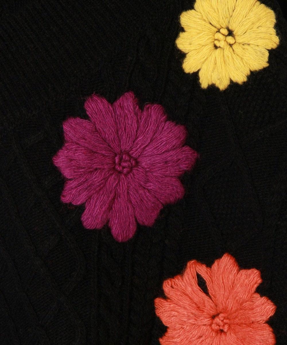 GRACE CONTINENTAL 刺繍ケーブルニットトップ ブラック