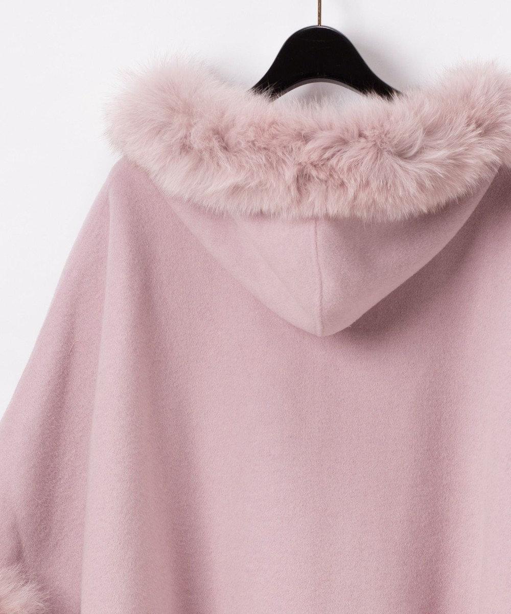 GRACE CONTINENTAL ファー付フードポンチョ ピンク