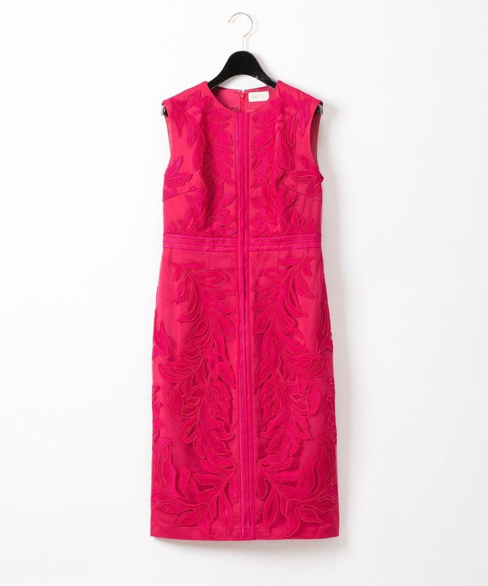 GRACE CONTINENTAL リーフライン刺繍ワンピース ピンク