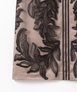 GRACE CONTINENTAL リーフライン刺繍ワンピース ブラック