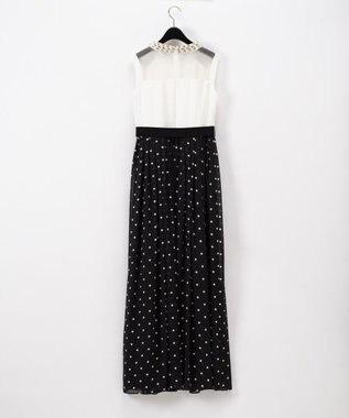 GRACE CONTINENTAL ドット配色ロングドレス ブラック