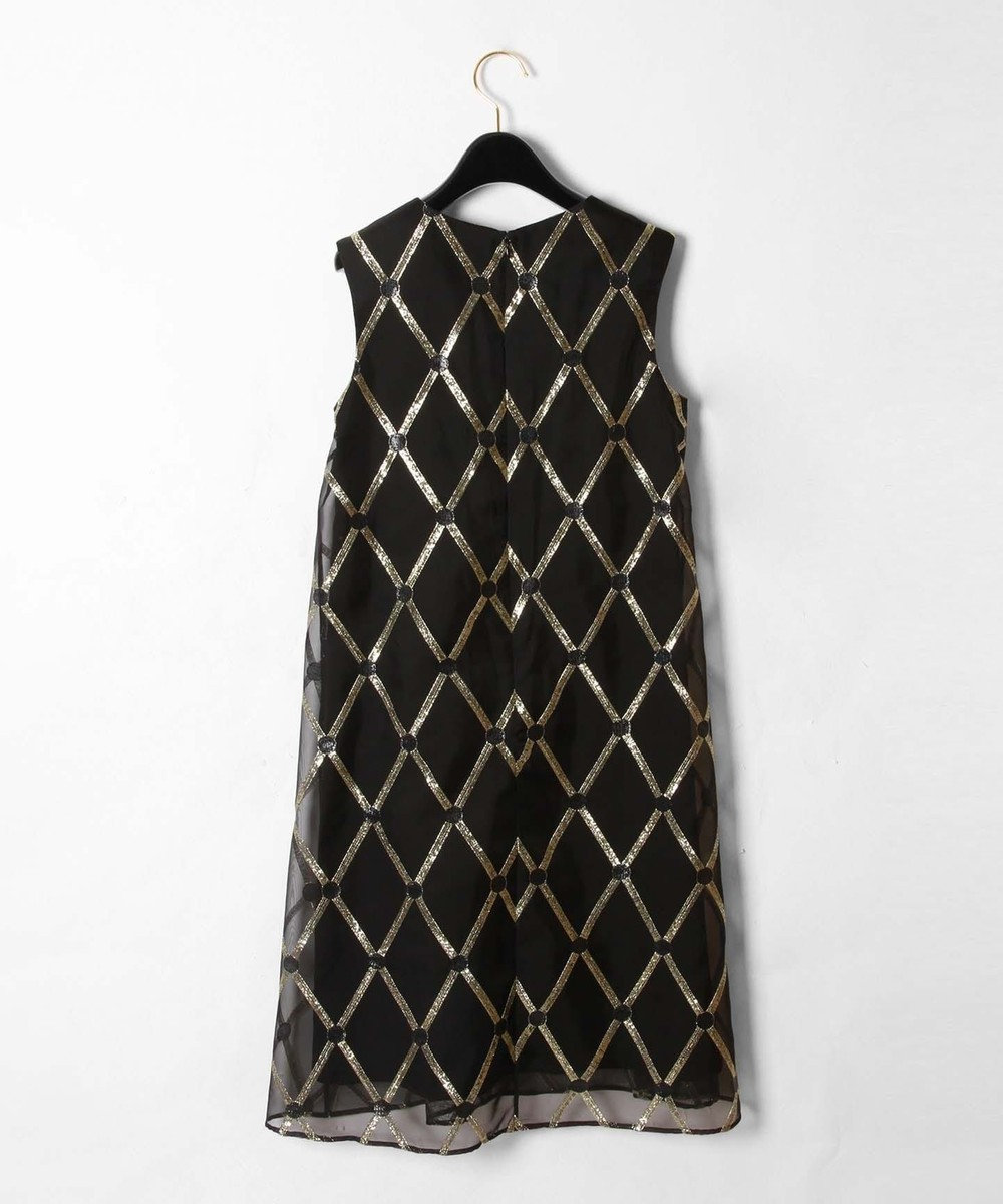 GRACE CONTINENTAL オーガンメタリック刺繍ワンピース ブラック