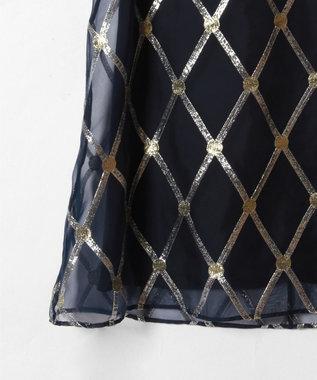 GRACE CONTINENTAL オーガンメタリック刺繍ワンピース ネイビー
