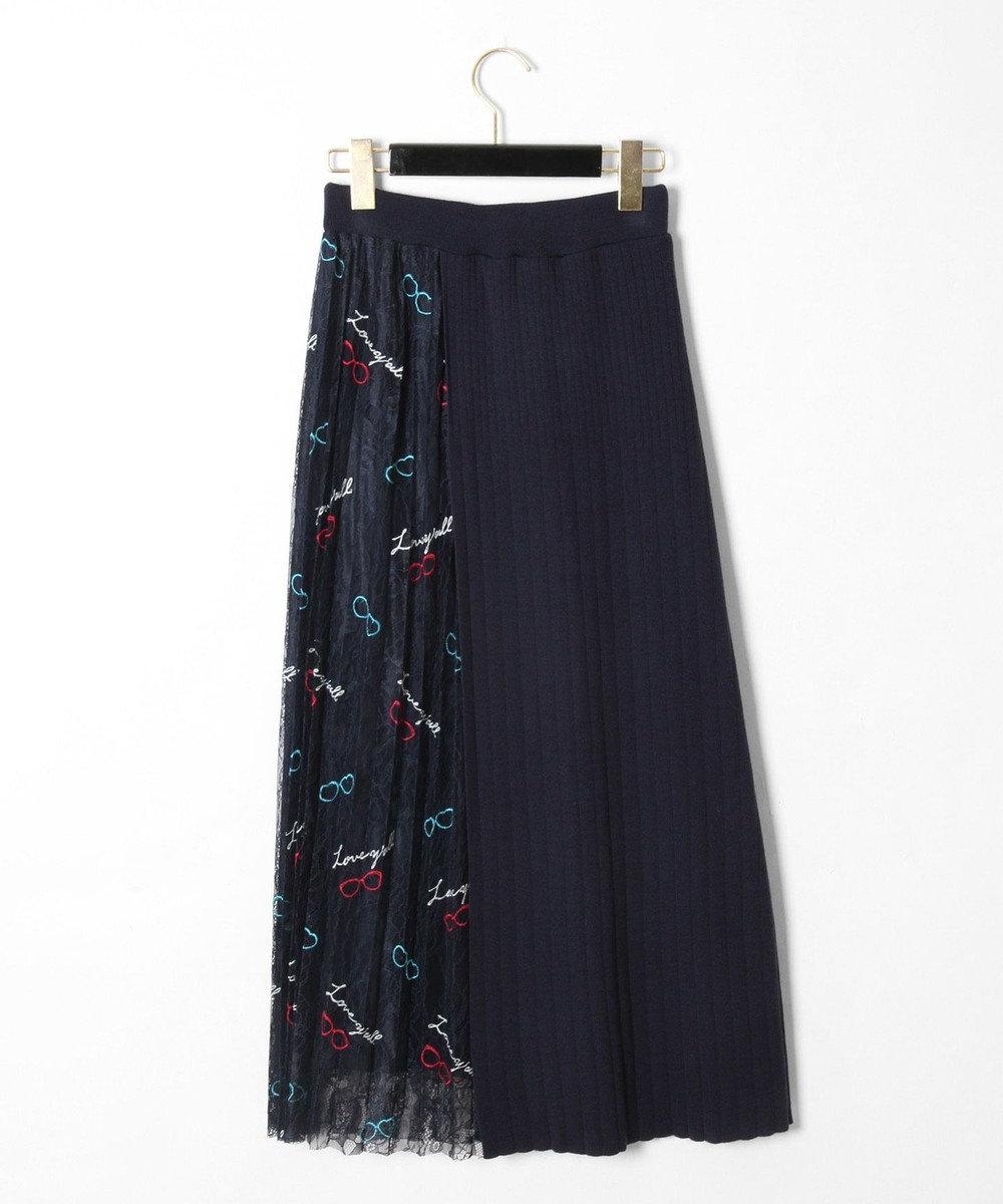 GRACE CONTINENTAL サングラスレースニットスカート ネイビー