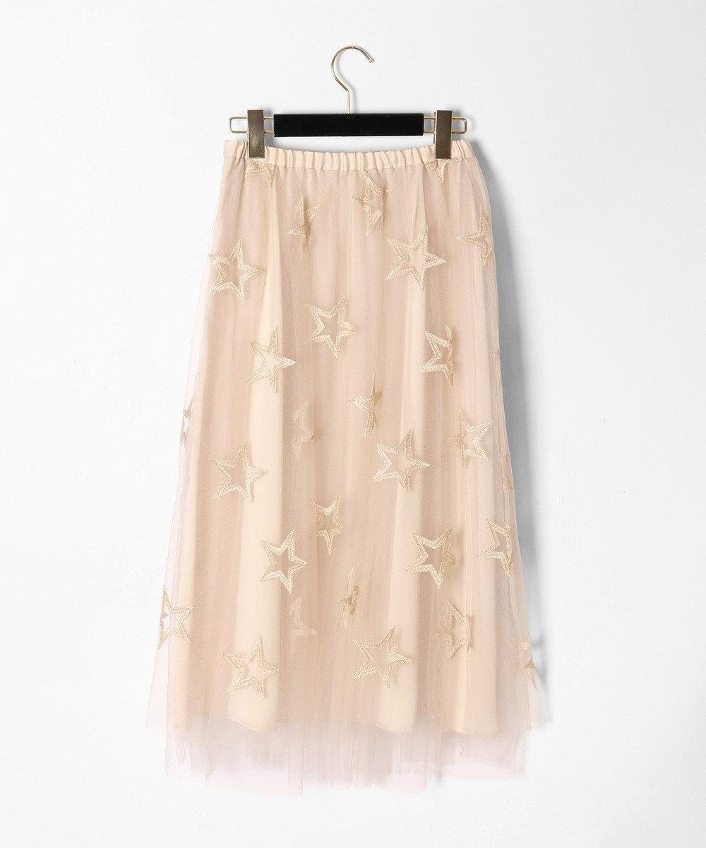 GRACE CONTINENTAL スター刺繍チュールスカート ベージュ