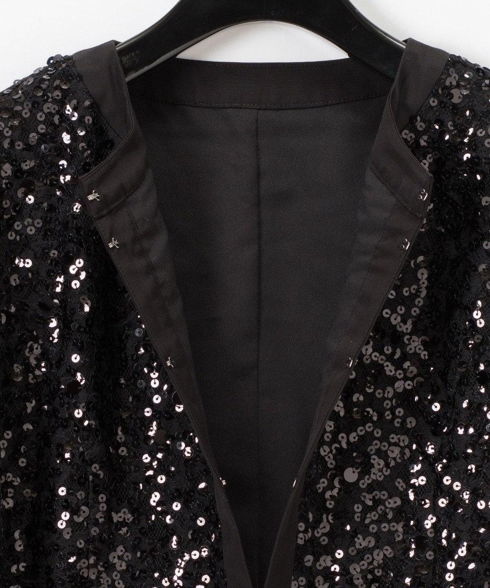 GRACE CONTINENTAL スパンコールノーカラージャケット ブラック