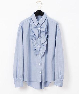 GRACE CONTINENTAL フリルドレスシャツ ブルー