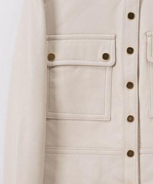 GRACE CONTINENTAL ノーカラーメタルジャケット ホワイト