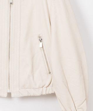GRACE CONTINENTAL ギャザーレザージャケット ホワイト