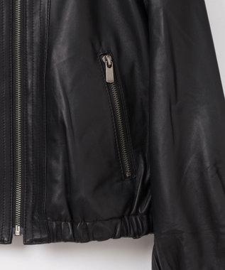 GRACE CONTINENTAL ギャザーレザージャケット ブラック
