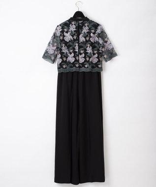 GRACE CONTINENTAL フラワー刺繍サロペット ブラック