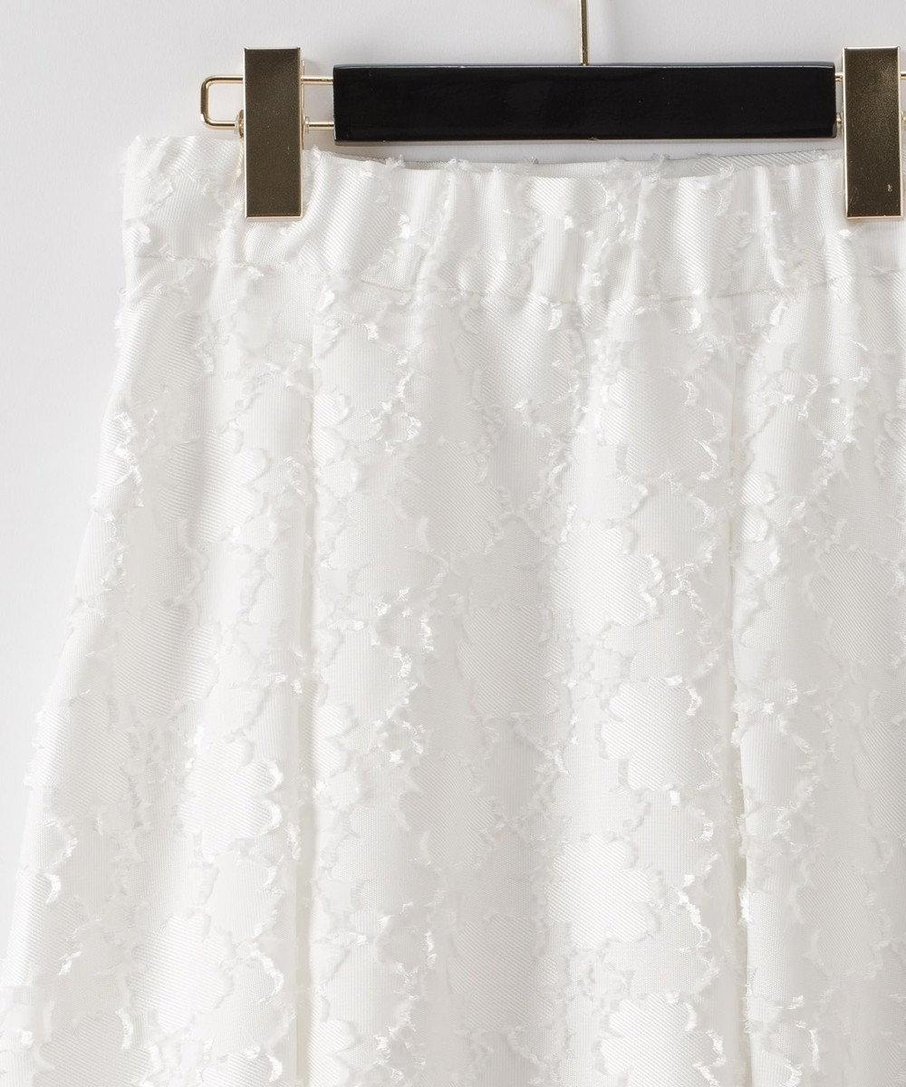 GRACE CONTINENTAL フラワージャガードタックスカート ホワイト