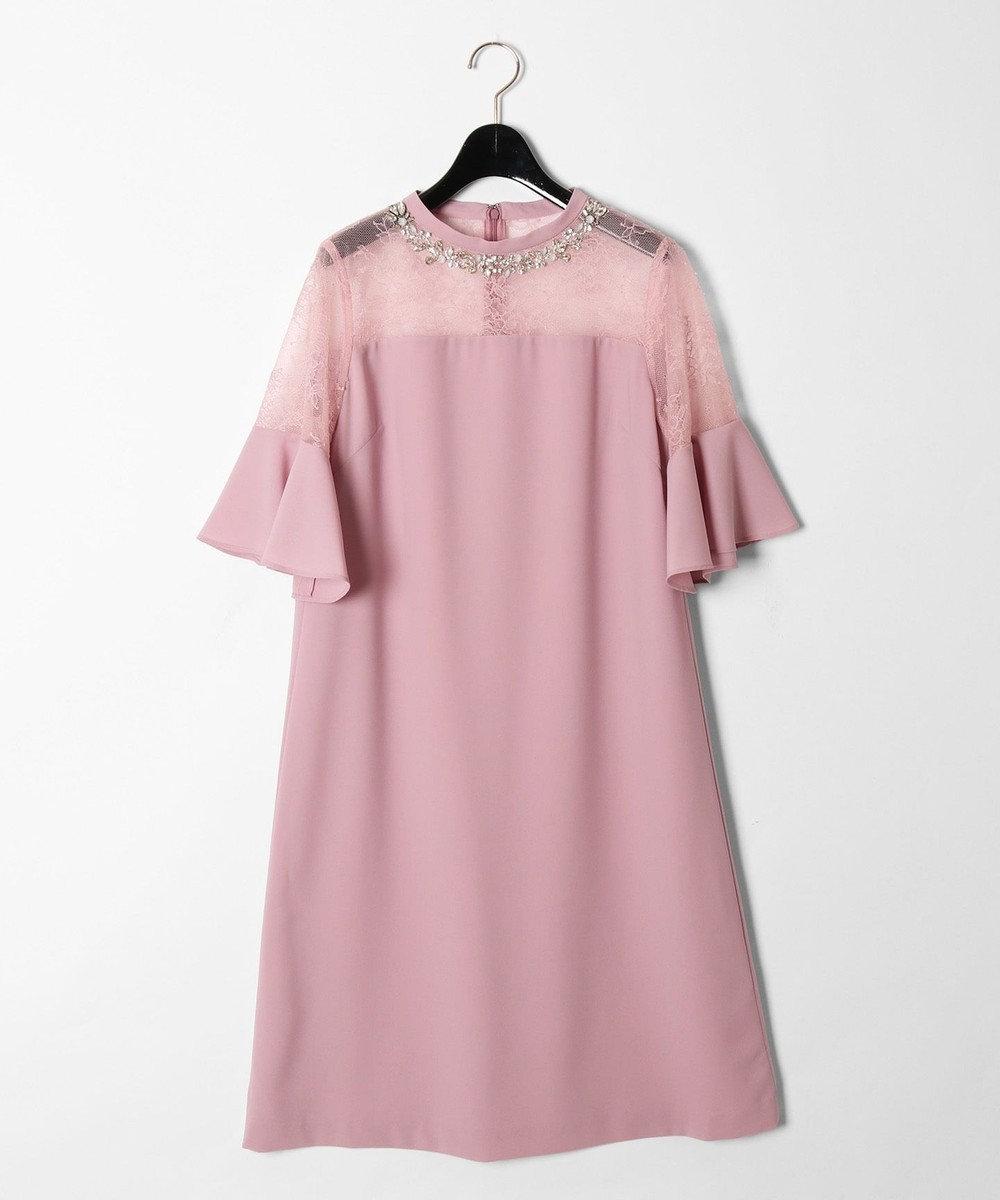GRACE CONTINENTAL スタンドカラーAラインワンピース ピンク