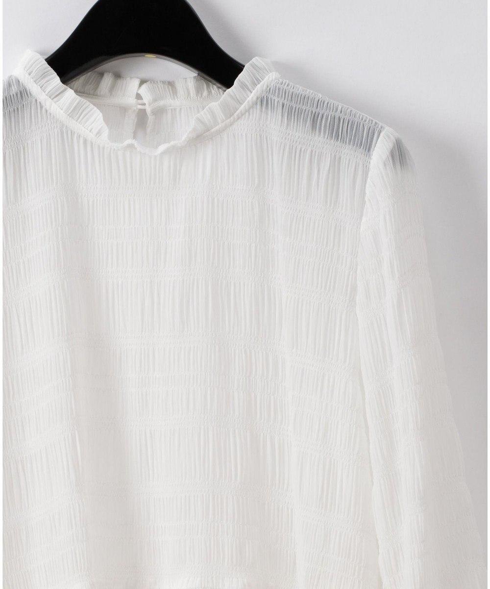 GRACE CONTINENTAL シャーリングライクフレアトップ ホワイト