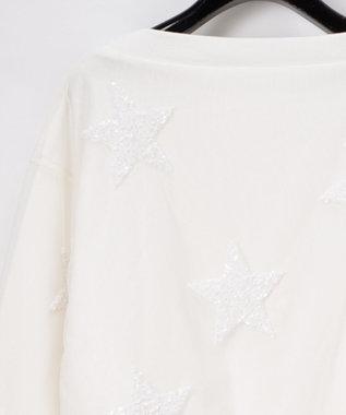 GRACE CONTINENTAL スパンコールスター裏毛トップ ホワイト